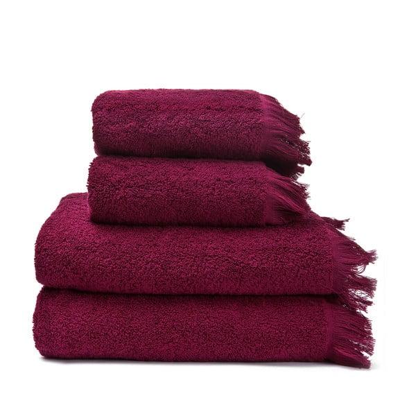Set 2 vínových bavlněných ručníků a 2 osušek Casa Di Bassi Bath