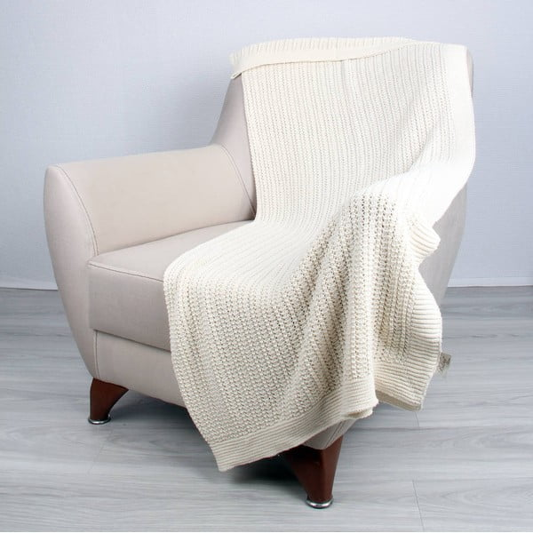 Světle béžová bavlněná deka Clen