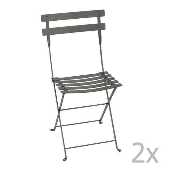 Sada 2 šedých skládacích židlí Fermob Bistro