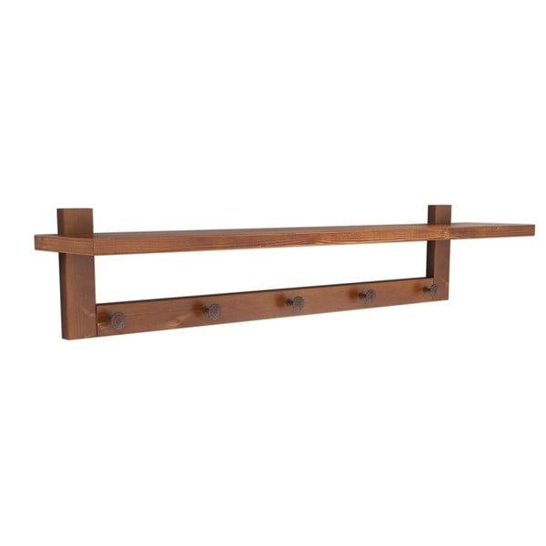 Nástenná polica z borovicového dreva Muzzo Wood Walnut, délka 80 cm