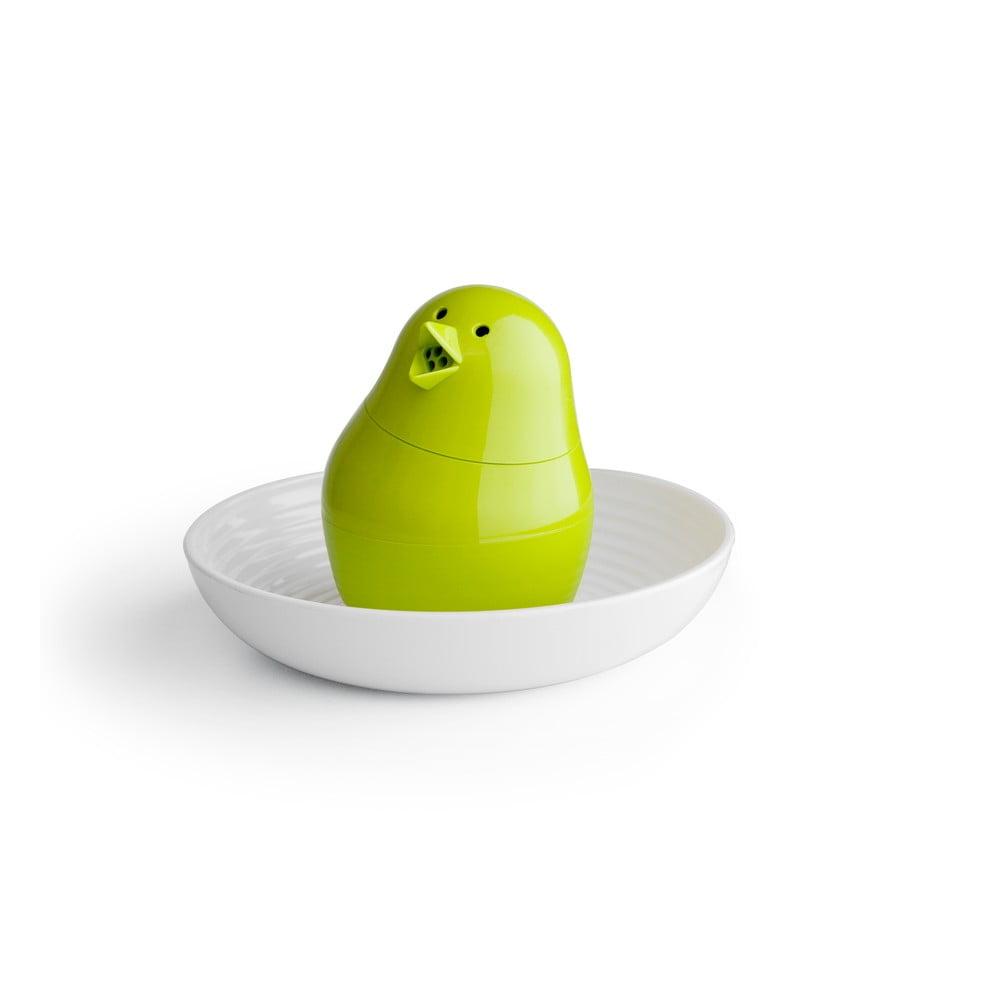 Zeleno-bílý set stojánku na vajíčko s miskou Qualy&CO Jib-Jib Shaker Qualy