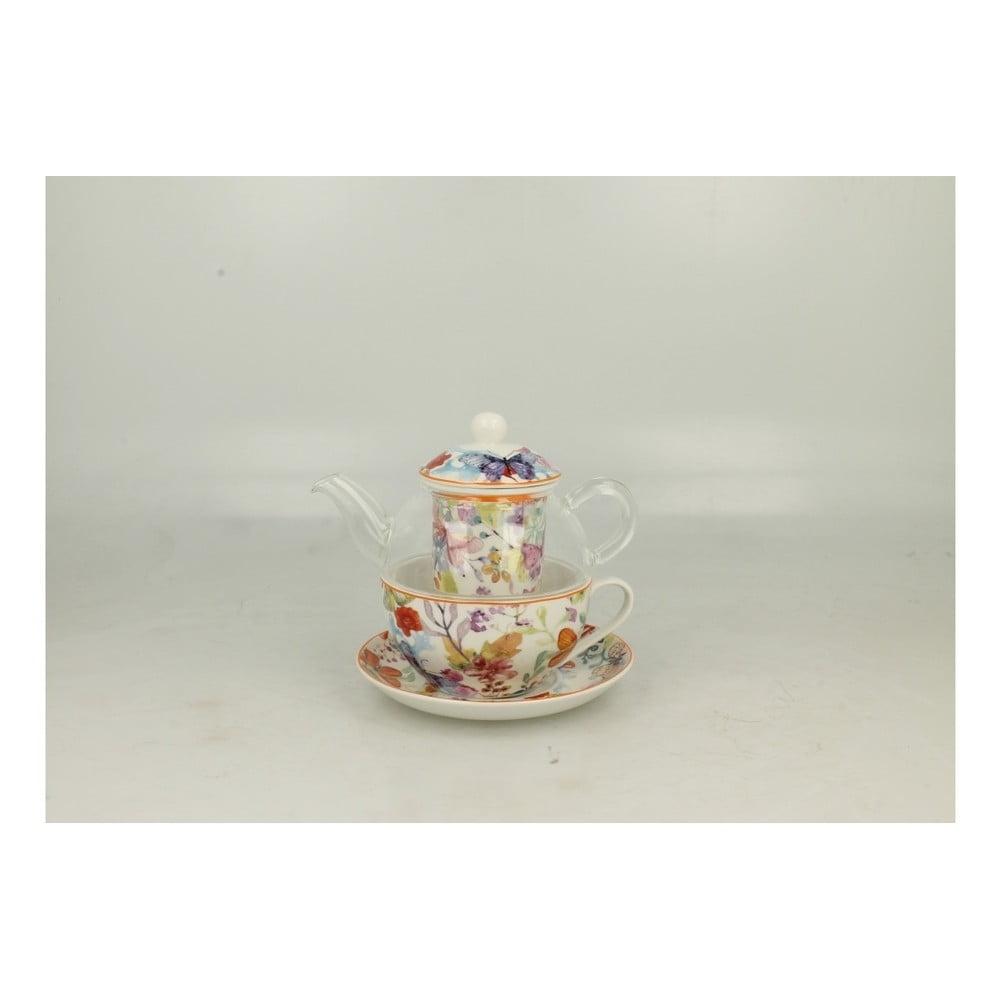 Set skleněné konvičky a porcelánového hrnku s podšálkem Duo Gift Cubic