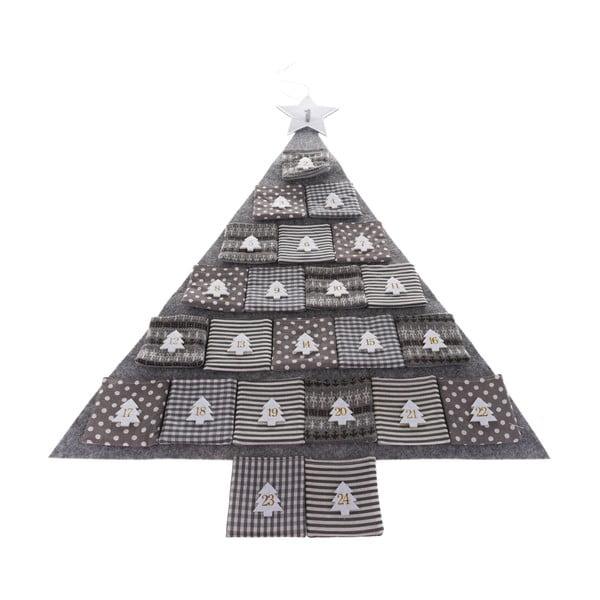Sivý textilný adventný kalendár v tvare stromu, dĺžka 68 cm