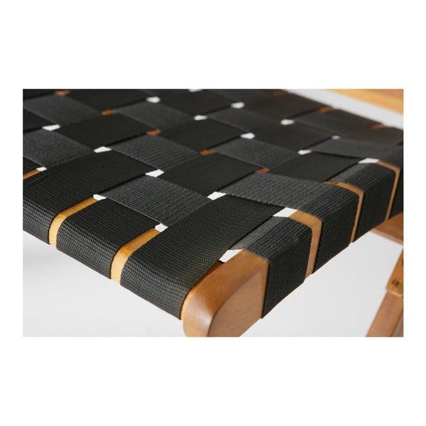 Černé křeslo s konstrukcí z akáciového dřeva De Eekhoorn Lois