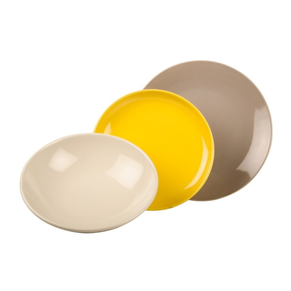 18dílná sada talířů Kaleidos, žluto-šedo-bílá