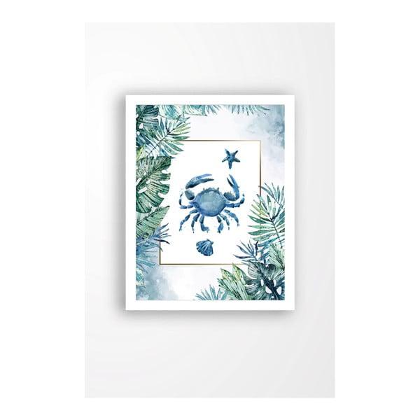 Nástěnný obraz na plátně v bílém rámu Tablo Center Blue Crab, 29 x 24 cm