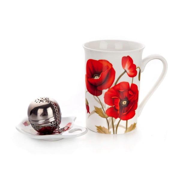 Keramická sada na čaj Banquet Red Poppy, 3ks