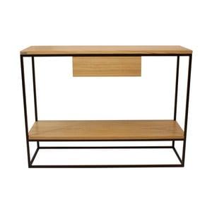 Černý konzolový stolek s deskou z dubového dřeva Take Me HOME Lubin, 100x30cm
