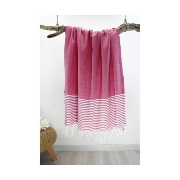 Růžová osuška s pruhy Hammam Marine Style, 100  x  170 cm
