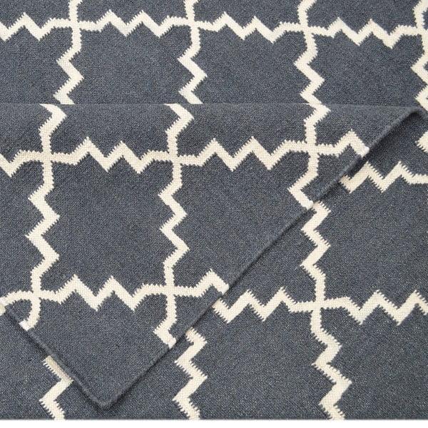 Vlněný koberec Eugenie Dark Grey, 200x140 cm
