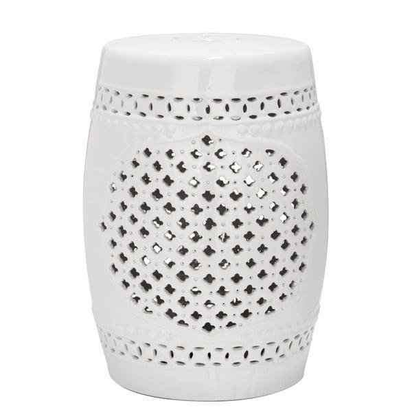 Marbella fehér kerámia kültéri tárolóasztal, ø 33 cm - Safavieh