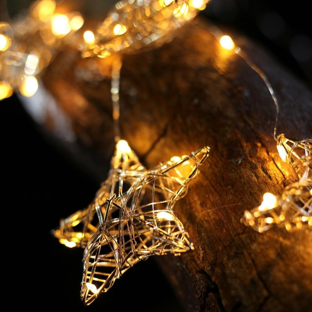LED světelný řetěz se 4 závěsy ve tvaru hvězdiček DecoKing Stars, 38 světýlek, délka 0,75 m
