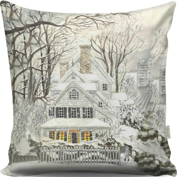 Dreamy Xmas House párna, 43 x 43 cm