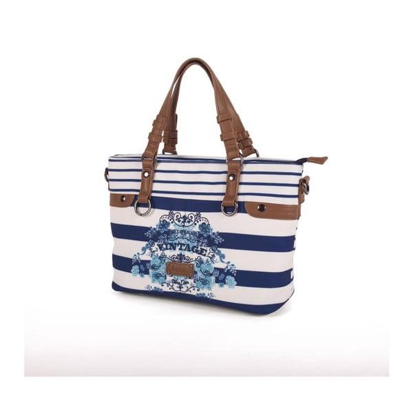 Modro-bílá kabelka Lois, 34 x 24 cm