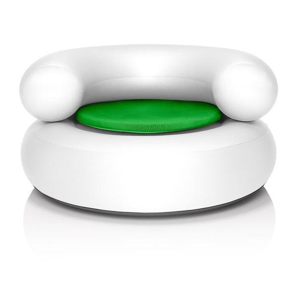 Fatboy nafukovací křeslo CH-AIR, bílé se zeleným polštářem