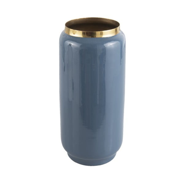 Niebieski wazon z detalem w złotej barwie PT LIVING Flare, wys. 27 cm