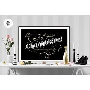 Plakát Champagne BW, A2