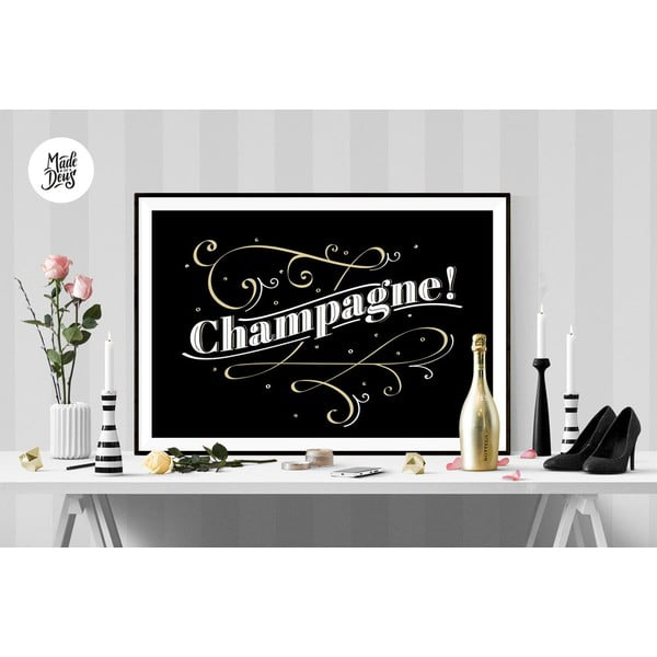 Plakát Champagne BW, A3