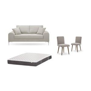 Set dvoumístné krémové pohovky, 2šedobéžových židlí a matrace 140 x 200 cm Home Essentials