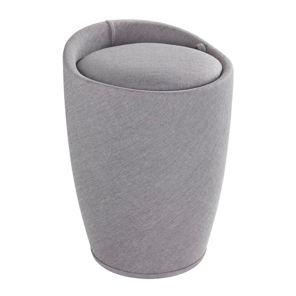 Světle šedý koš na prádlo a taburetka v jednom Wenko Linen Look, 20 l
