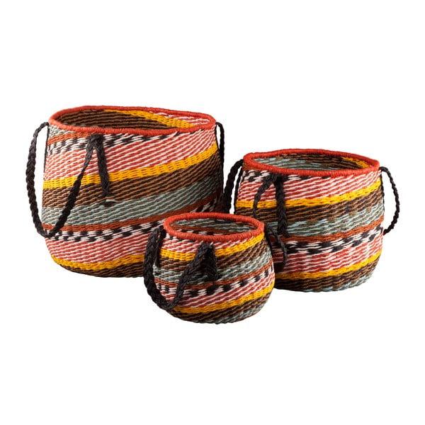 Sada 3 kulatých košíků Ethno s úchyty