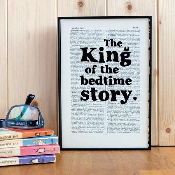 Plakát v dřevěném rámu King of the Bedtime Story