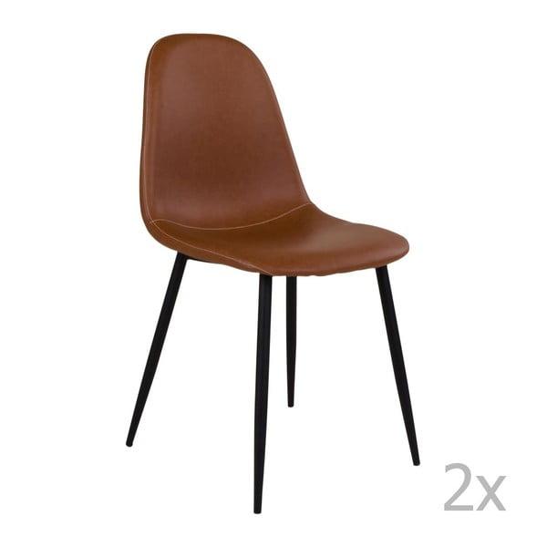 Set 2 scaune cu picioare negre House Nordic Stockholm, maro
