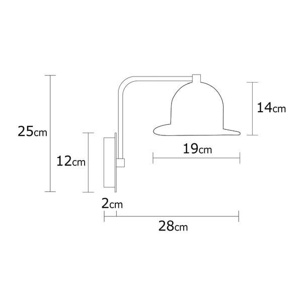 Černé nástěnné svítidlo Mini Hat Wall Lamp Rastoro