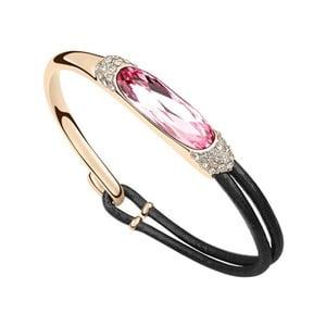 Pozlacený náramek s růžovým krystalem Swarovski a koženým páskem Adea