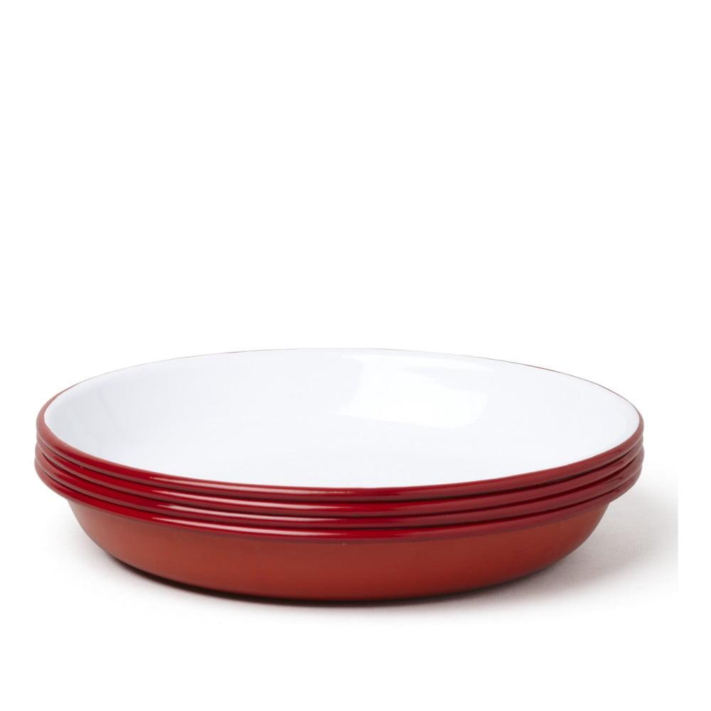 Sada 4 červeno-bílých smaltovaných polévkových talířů Falcon Enamelware