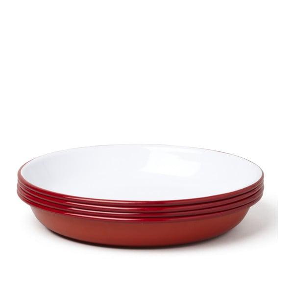 Set 4 farfurii adânci smălțuite Falcon Enamelware, roșu-alb