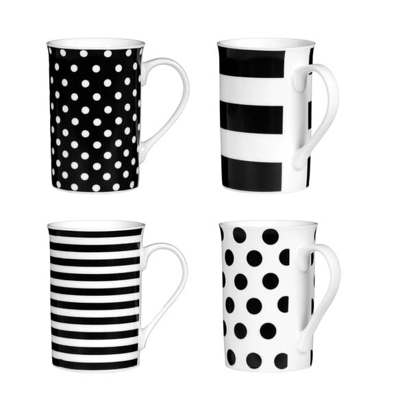 Sada 4 hrnečků Premier Housewares Spots and Stripes Black, 270 ml
