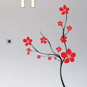 Samolepka na stěnu Keř s květy, černá a červená