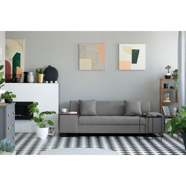 Světle šedá trojmístná pohovka s nohami v černé barvě Cosmopolitan Design Orlando