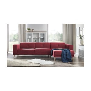 Canapea cu șezlong pe partea dreaptă și suport pentru picioare Bobochic Paris Luna, roșu