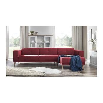Canapea cu șezlong pe partea dreaptă Bobochic Elen roșu