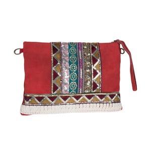Béžovočervená kožená kabelka Tina Panicucci Hindu