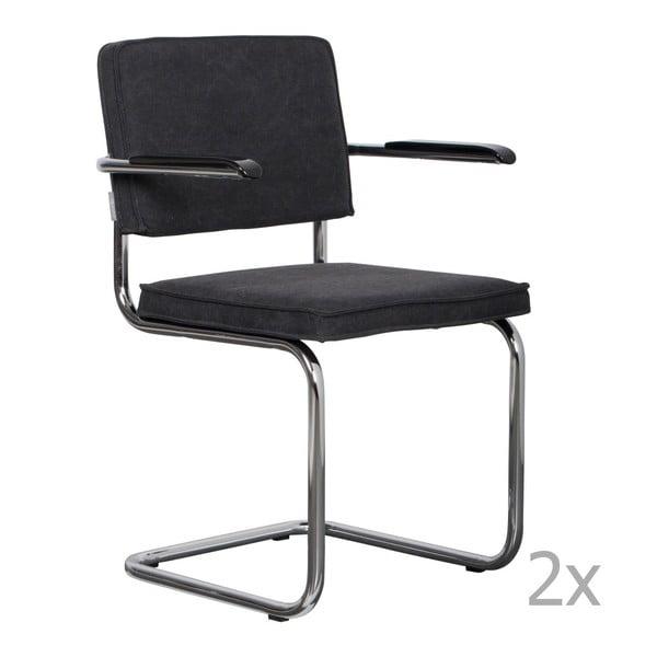 Sada 2 antracitově šedých židlí s područkami Zuiver Ridge Rib