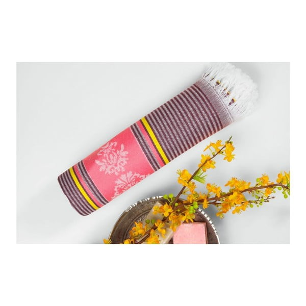 Prosop hammam Loincloth Pink/Burgundy, 80x170 cm