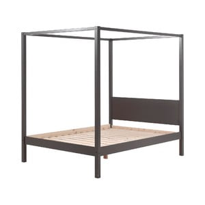 Šedá dětská postel Vipack Pino Canopy, 140x200cm