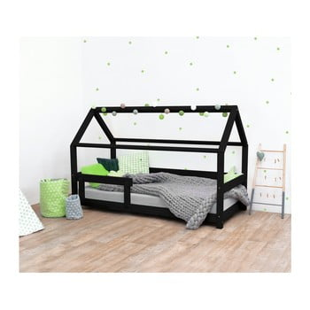 Pat pentru copii, din lemn de molid cu bariere de protecție laterale Benlemi Tery, 90 x 160 cm, negru