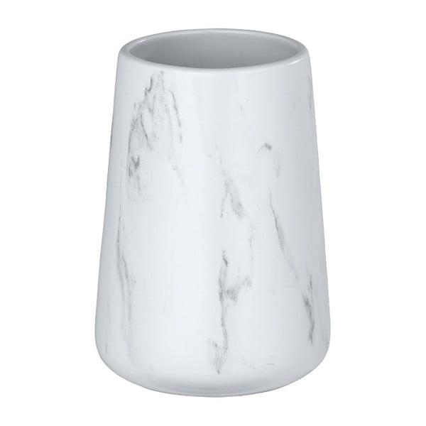 Biały ceramiczny kubek na szczoteczki Wenko Adrada