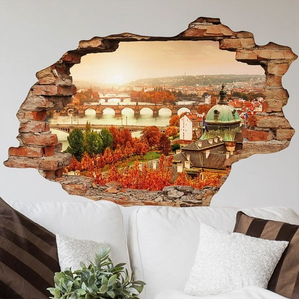 Autocolant perete 3D Ambiance Praga Podzim, 90 x 60 cm