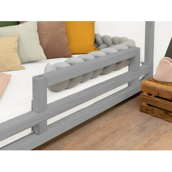 Panou lateral din lemn de molid pentru patul Benlemi Safety,lungime90cm, gri imagine