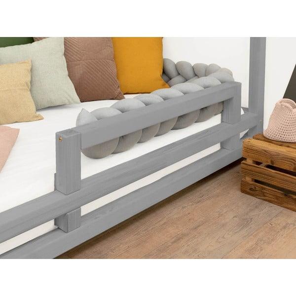 Šedá bočnice z smrkového dřeva k posteli Benlemi Safety,délka90cm
