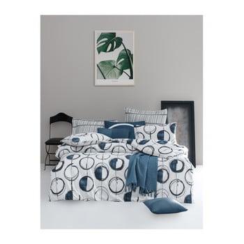 Lenjerie de pat din bumbac ranforce pentru pat de 1 persoană Mijolnir Piksel Blue, 140 x 200 cm de la Mijolnir