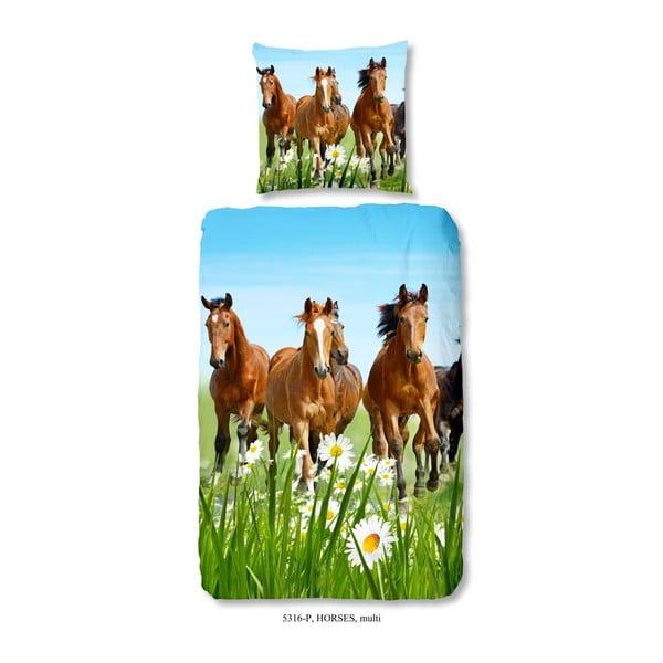Lenjerie de pat din bumbac pentru copii Good Morning Horsy, 140x200 cm