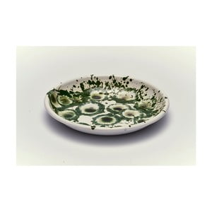 Zelenobílý smaltovaný talíř Kapka Floral Madness, Ø24,5cm