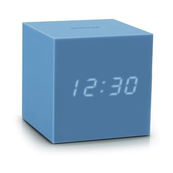 Ceas deșteptător cu LED Gingko Gravity Cube, albastru de la Gingko