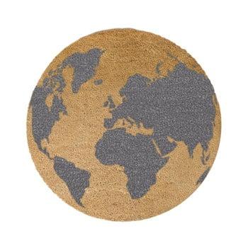 Covor intrare rotund Artsy Doormats Grey Globe, ⌀ 70 cm, gri